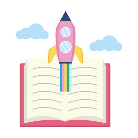 open book flying rocket - world book day vector illustration