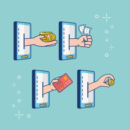 mobile hands money bank card online banking vector illustration Illustration