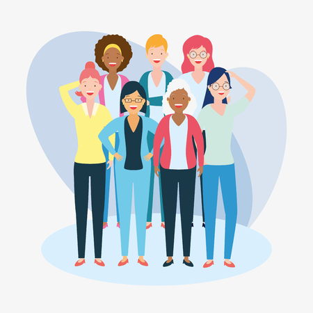 diversity woman people group vector illustration design