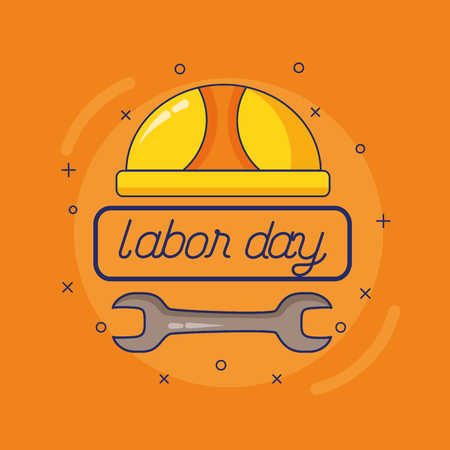 helmet wrench happy labour day vector illustration Çizim