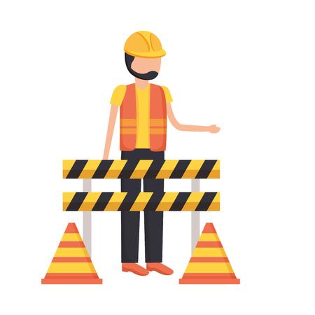 operaio edile traffico barricata e illustrazione vettoriale cono Vettoriali