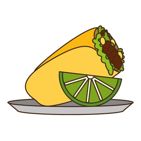 mexican burrito and lemon on dish vector illustration