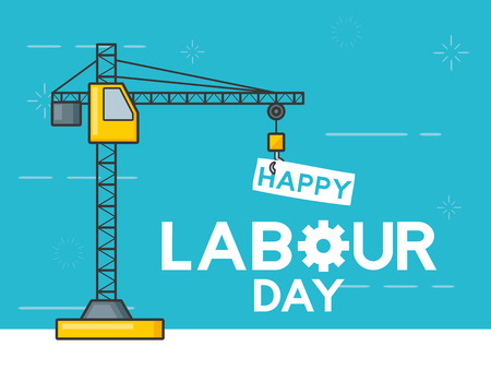 construction crane with board happy labour day vector illustration
