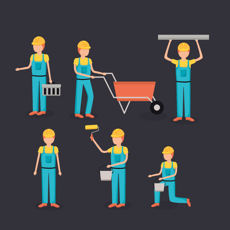workers construction employee professional tools vector illustration