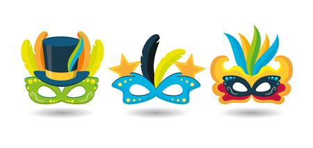 mask feathers hat decoration brazil carnival festival vector illustration