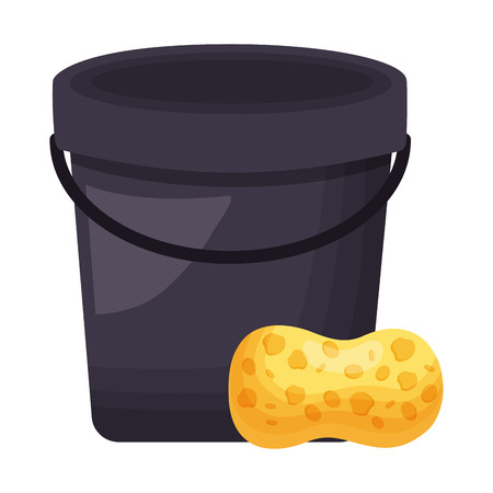 bucket sponge tool cleaning on white background vector illustration