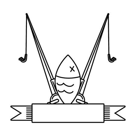 fish and fishing rod on white background vector illustration Illustration
