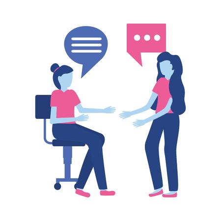 women sitting office chair talking bubbles vector illustration