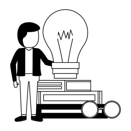 man books stacked bulb and eyeglasses vector illustration