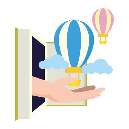 open book hot air balloon - world book day vector illustration Ilustrace
