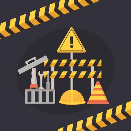 worker construction toolbox tools barrier helmet equipment vector illustration Ilustrace