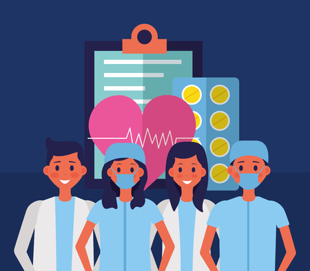 medical people staff clipboard and heartbeat pills vector illustration