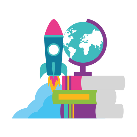 school globe rocket books teachers day vector illustration 일러스트