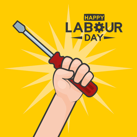 happy labour day hand with screwdriver vector illustration Stok Fotoğraf - 122645621