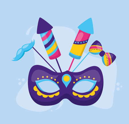 carnival mask rockets mustache vector illustration design Фото со стока - 122645622