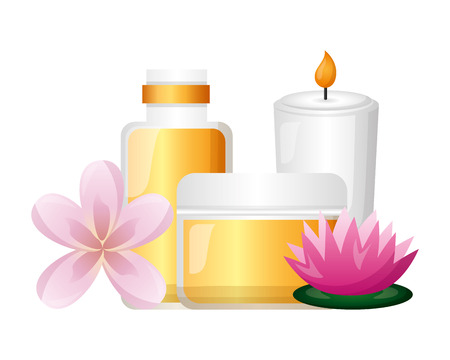 cosmetics bottles candle flower spa treatment therapy vector illustration Ilustração