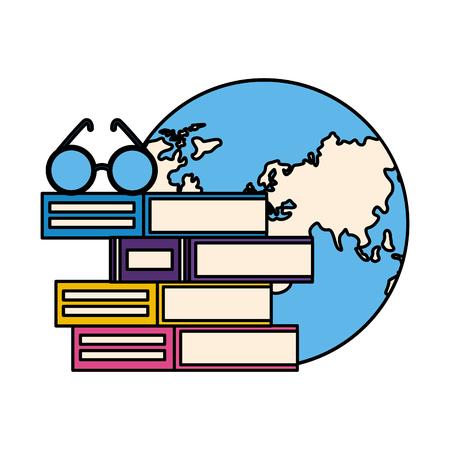 stack of books with lenses isolated icon vector illustration design Ilustração