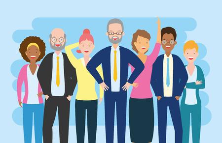 Vielfalt Mann und Frau Gruppencharaktere Vektor-Illustration Vektorgrafik