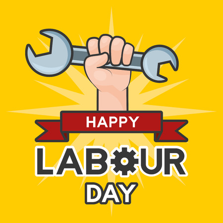 happy labour day hand with wrench card vector illustration