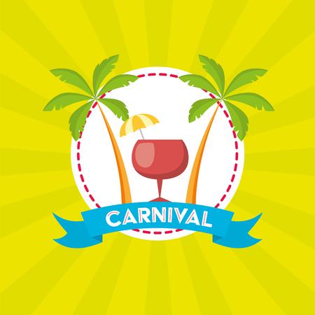 cocktail palm beach brazil carnival festival vector illustration 向量圖像