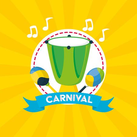 drum and maracas musical brazil carnival festival vector illustration