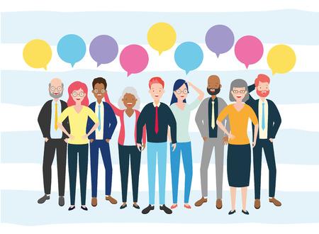 diversity man and woman characters speech bubble talk vector illustration Vetores