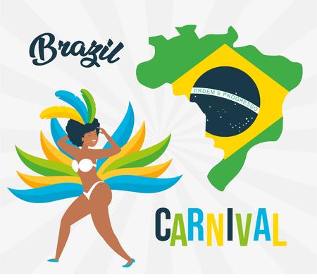 dancer map and flag brazil carnival celebration vector illustration 向量圖像