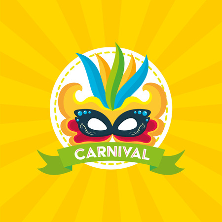 mask feathers brazil carnival festival celebration poster vector illustration
