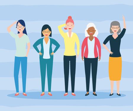 Diversidad mujer grupo de personas, diseño de ilustraciones vectoriales
