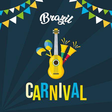 guitar and horns maracas musical brazil carnival festival vector illustration 일러스트