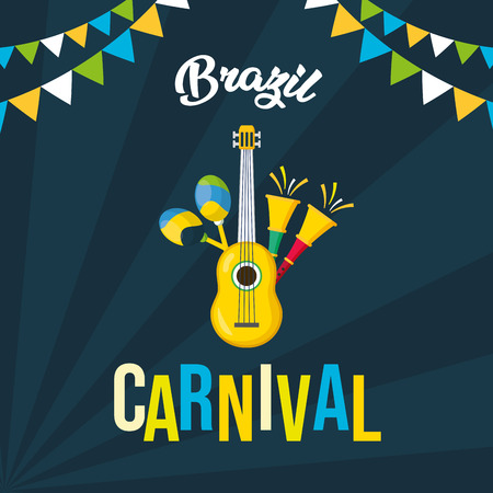 guitar and horns maracas musical brazil carnival festival vector illustration  イラスト・ベクター素材