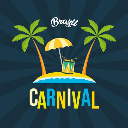 beach drum umbrella brazil carnival festival black background vector illustration