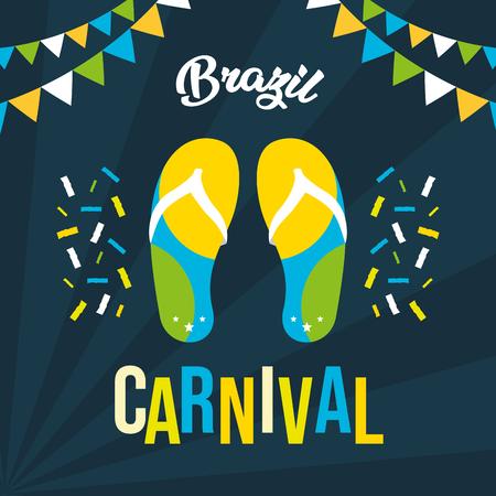 flip flops garland confetti poster brazil carnival festival vector illustration Illustration