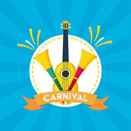 guitar and horns musical brazil carnival festival vector illustration 向量圖像