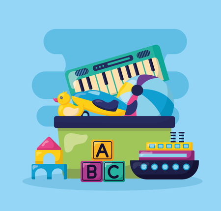 kids toys duck ball boat castle piano cubes vector illustration