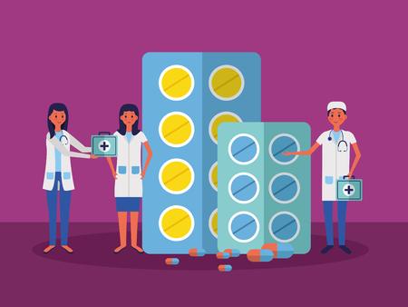 medical people staff medicine pills kit first aid vector illustration