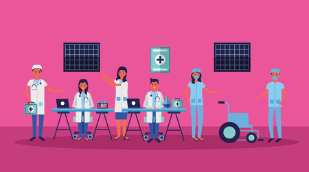 medical people staff professional in the office working vector illustration