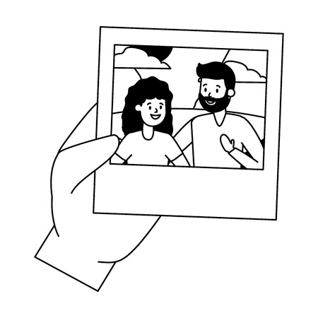 hand with photo smiling couple vector illustration design vector illustration design Banque d'images - 122645688