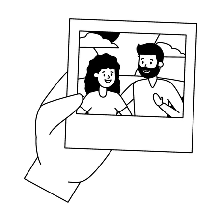 hand with photo smiling couple vector illustration design vector illustration design Reklamní fotografie - 122645694