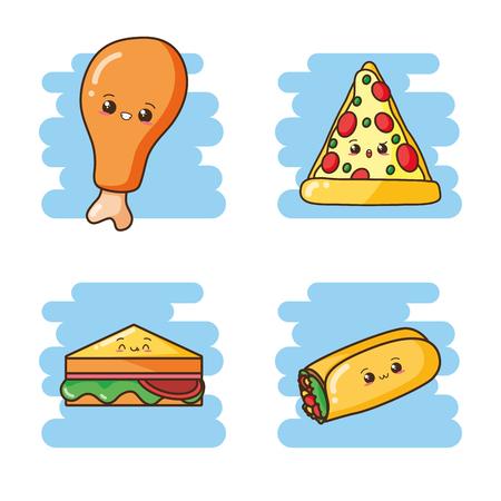 kawaii fast food cartoon set vector illustration