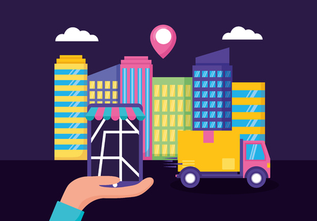 hand smartphone truck cardboard box location city fast delivery vector illustration