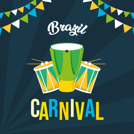drums garland celebration musical brazil carnival festival vector illustration