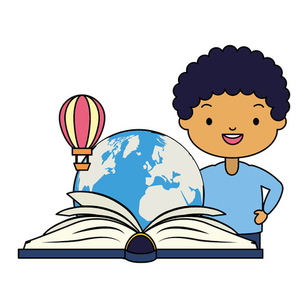 boy reading textbook travel - world book day vector illustration