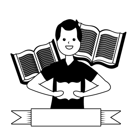 man reading books literature - my hobby vector illustration Illustration