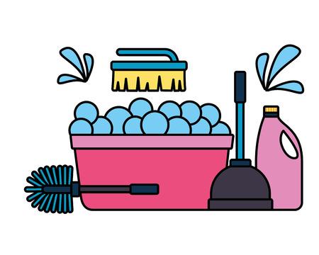 washing bucket plunger brush detergent spring cleaning tools vector illustration Ilustrace