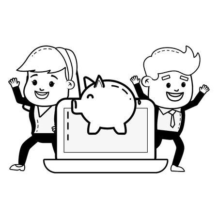 people laptop piggy bank online payment vector illustration Standard-Bild - 121911737