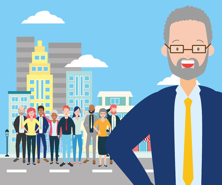diversity man and crowd characters in the city street vector illustration Illustration