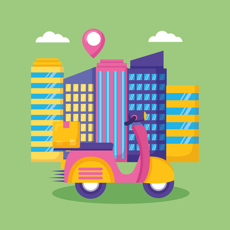 scooter city location cardboard box fast delivery vector illustration Illustration