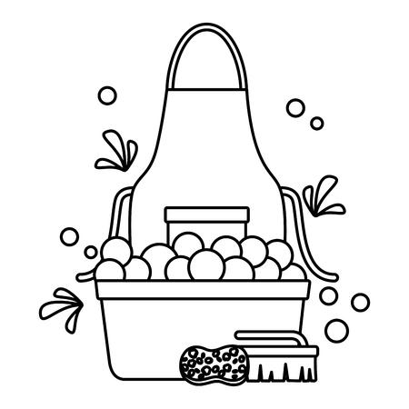 washing bucket sponge brush spring tool cleaning vector illustration Çizim