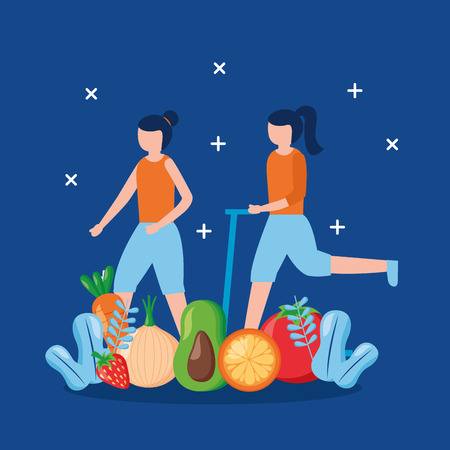 women exercise food world health day vector illustration
